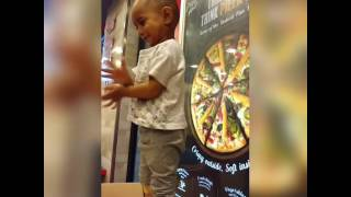 my 2year old kid dancing in pizza hut