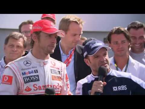 Rubens Barrichello & Jenson Button interview after the race - British GP 2010