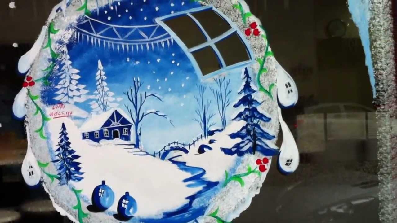 Vitrines De Commerces En Opeinture Noel Nouvel An Tel