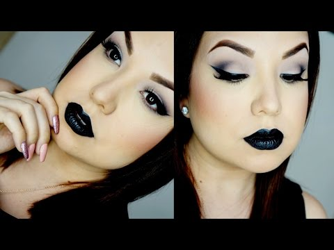 Maquillaje oscuro, labios negros