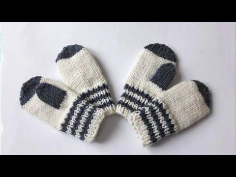 Вязание рукавичек детских спицами