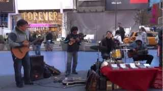 New York City Street Musicians playing Bolivian Peruvian Pan Flute Pipes HD 1080p
