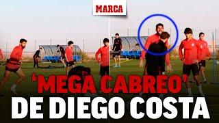 El 'cabreo' de Diego Costa... ¡porque no le colocan bien el balón! I MARCA