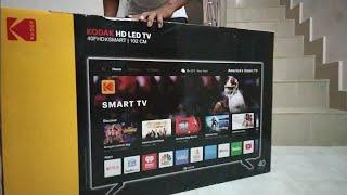 Kodak 40 inch Smart TV Unboxing,Screen Mirroring, Internet Accessing,wall mounting