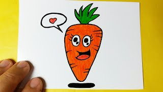 How to draw a beautiful and easy CARROT KAWAII   Cute Drawings - Drawing to Draw