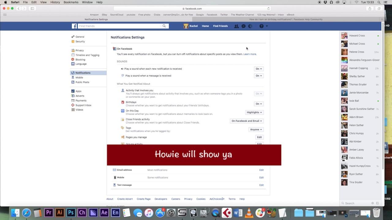 Turn Facebook Birthday Notification On Youtube