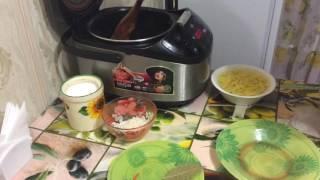 Суп рисовый с курицей и зелёным горошком