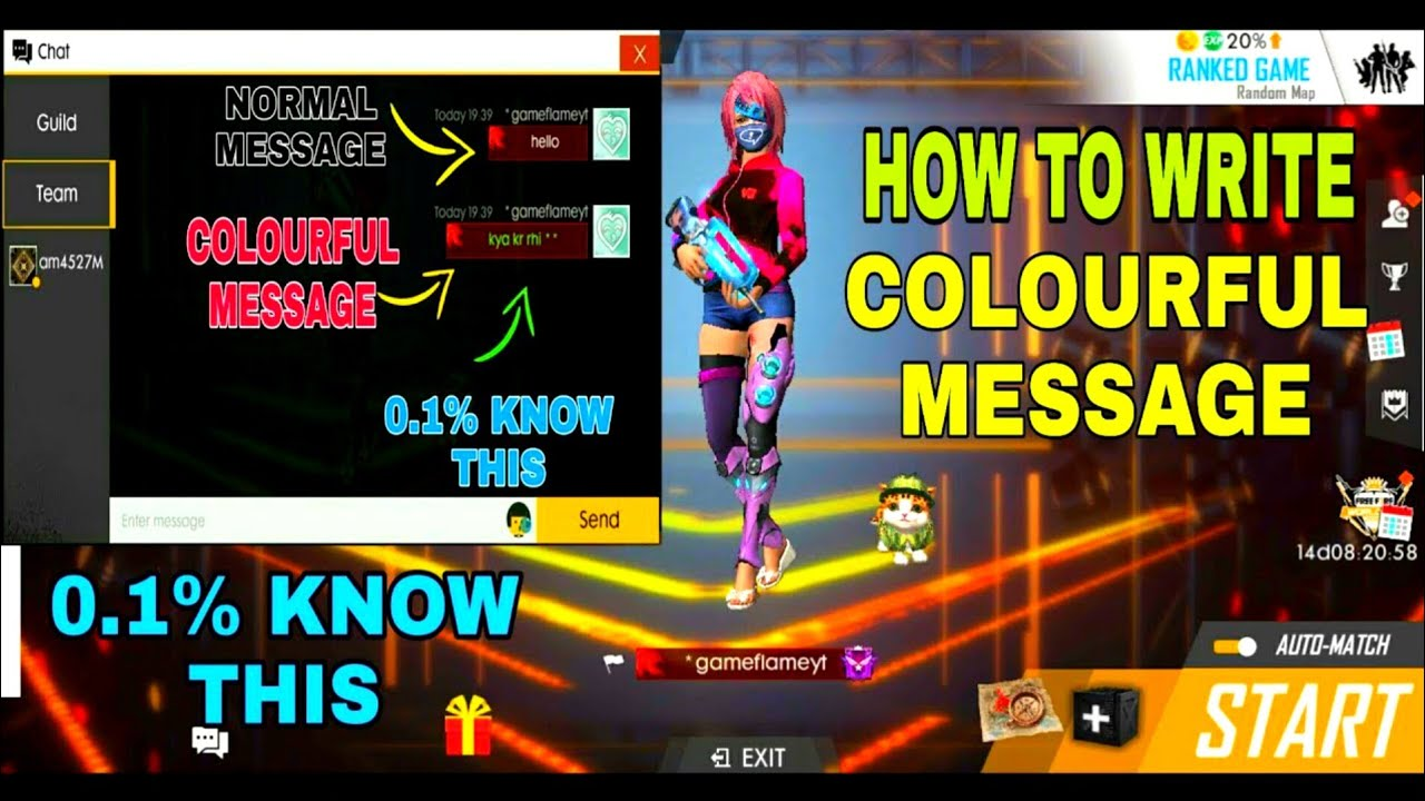 FREE FIRE HOW TO USE COLOUR TEXT IN MESSAGE | HOW TO WRITE