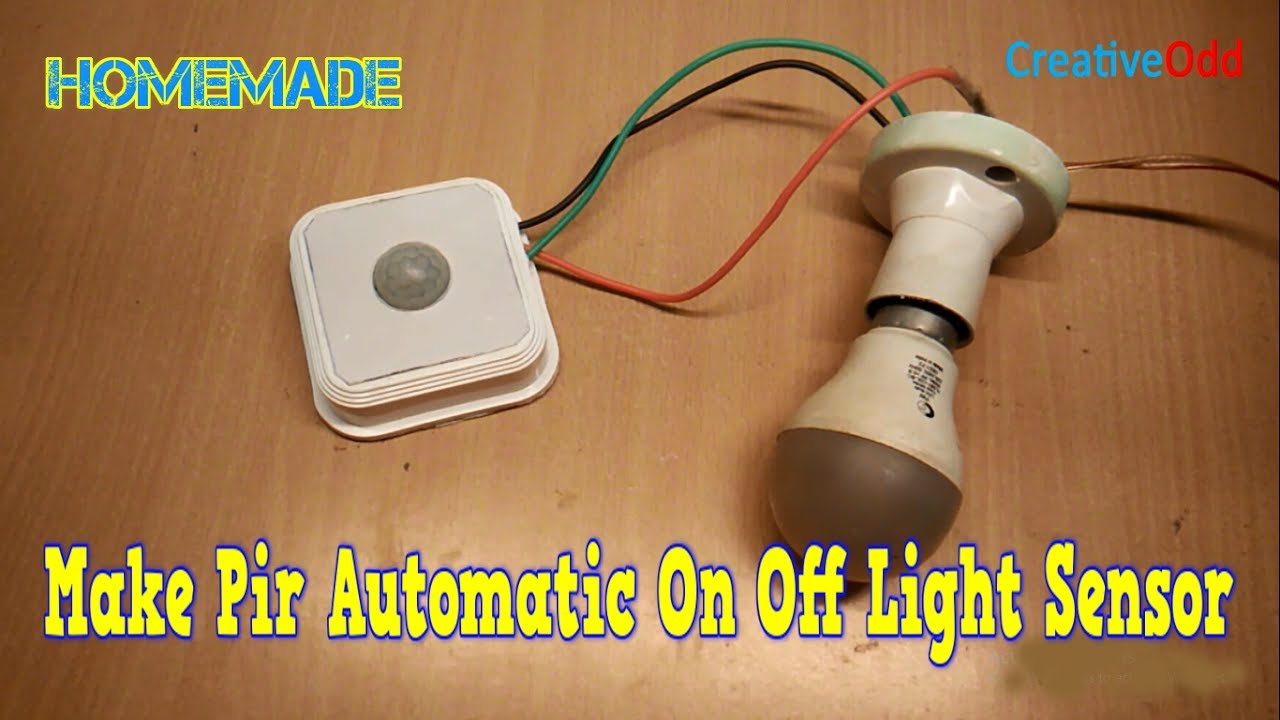 how to make pir automatic on off light sensor at home - YouTube