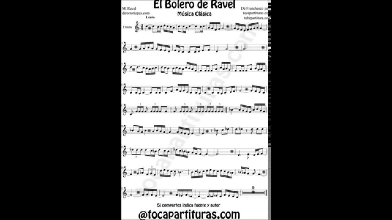 Ravel Bolero Sheet Music For Flute Violin Sax Cello Clarinet Trumpet Viola Trombone Bassoon Horn