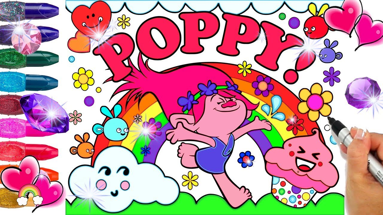 Poppy Trolls Coloring Page Decorated With Glitter And Gems Poppy