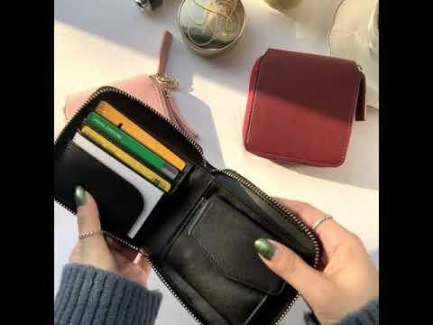 [반지갑]네모난 무지 디자인에 지퍼로 실용성까지 갖춘 심플 베이직 반지갑!
