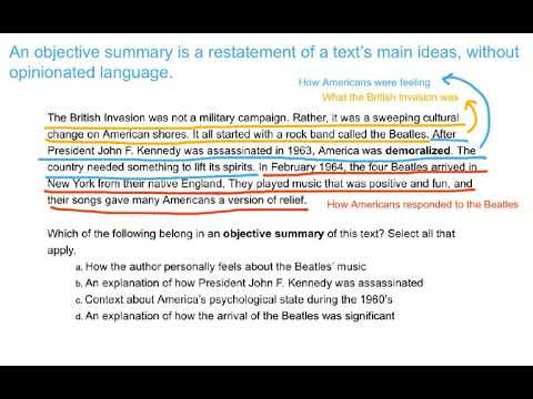Determine what belongs in an objective summary of the text - YouTube