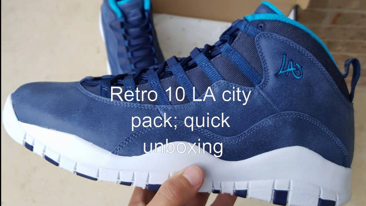 c582f629b45 Jordan Retro 10 LA City Pack Quick un-boxing - YouTube