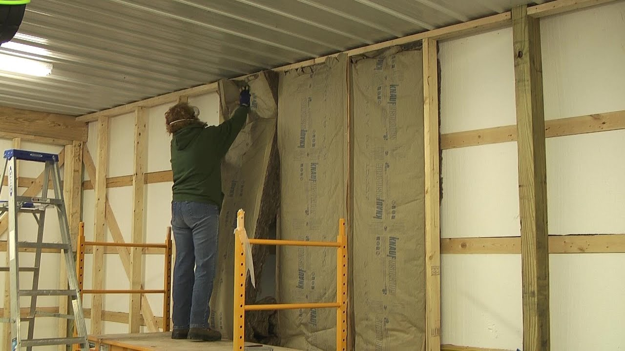 Pole Barn Inside Walls and Insulation - YouTube