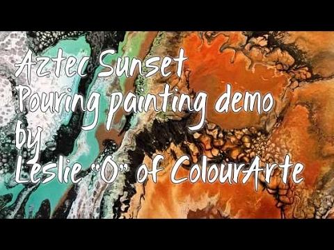 Aztec Sunset Vivid Ultra Metallic Paint Pouring, by leslie Ohnstad