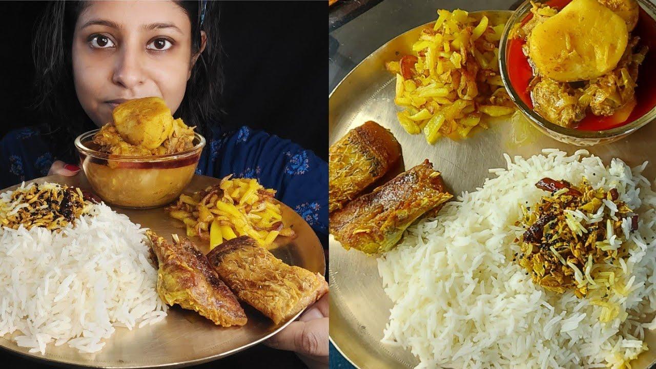 Eating Show - Rice, Aloo Vaja, Rohu Fish Fry, Chicken er Jhol   Poulami Eating Show   Big Bites