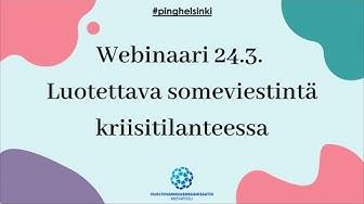 Webinaari 24.3.2020: Luotettava someviestintä kriisitilanteessa