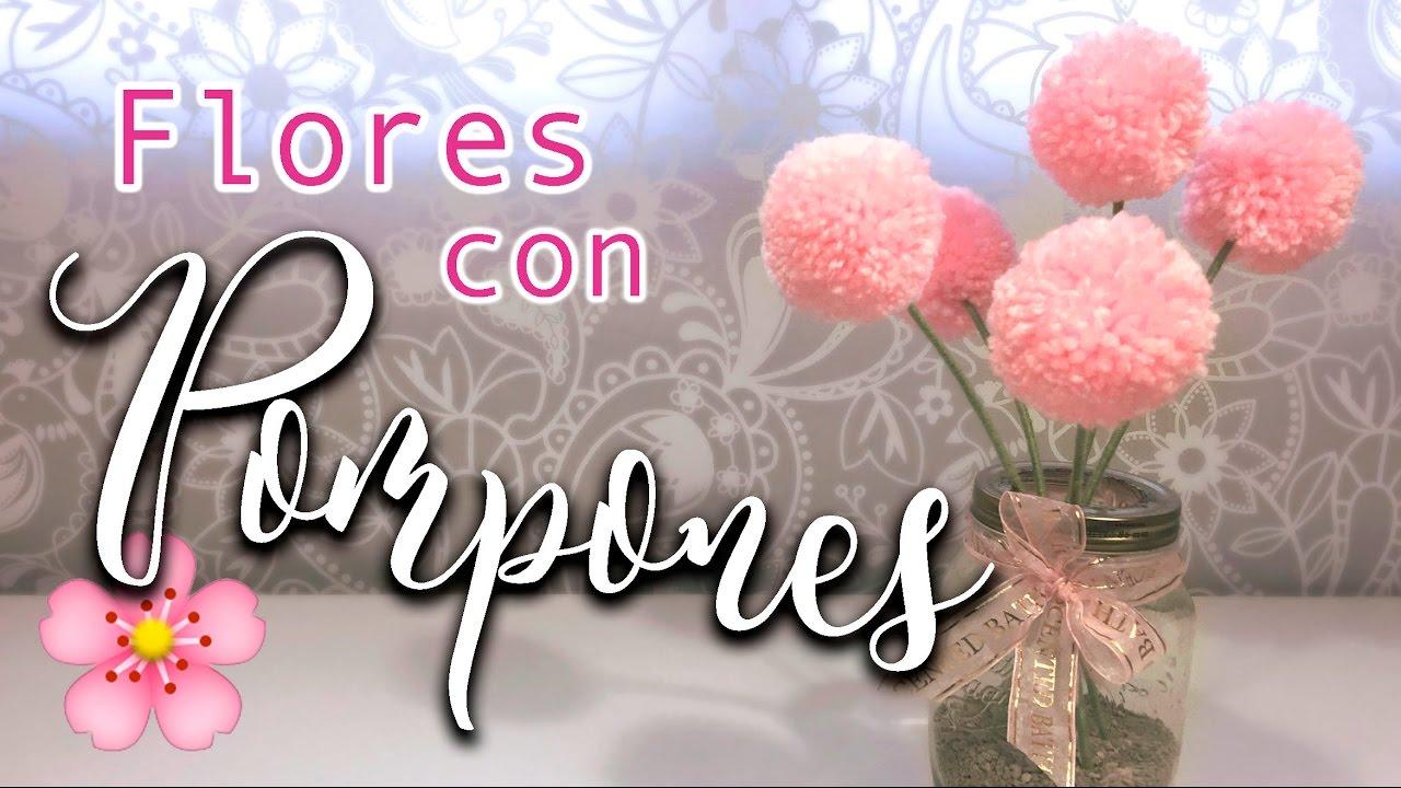 Flores con pompones de lana diy s per f cil youtube - Como hacer pompones con lana ...