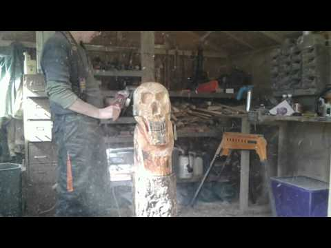 A Chainsaw Carved Skull