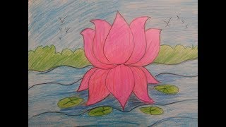 NATIONAL FLOWER OF INDIA|| HOW TO DRAW A LOTUS|| VERY EASY LOTUS|| Step by step flower drawing||