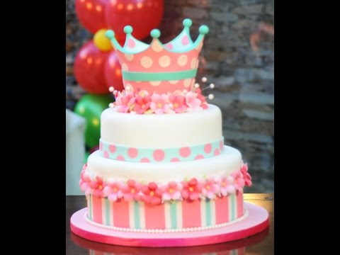 Como decorar una torta de Princesas - Corona - Marcela Capo - YouTube