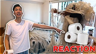 TRAPPED IN TOILET PAPER PRANK ON ROOMMATE!!