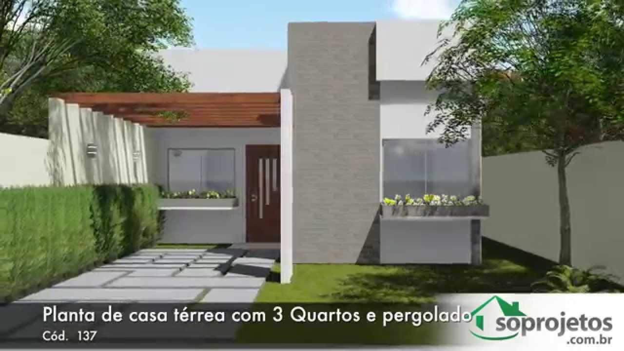 Plantas de casas planta de casa t rrea com 2 quartos e for Casa moderna 2 andares 3 quartos