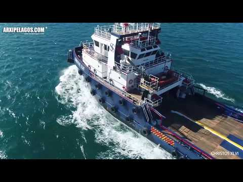 CHRISTOS XLVI   Offshore Supply Ship  IMO: 9249659 ( AERIAL DRONE VIDEO )