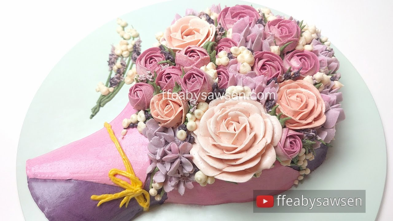 3d Buttercream Rose Bouquet Cake Tutorial Mothers Day Relaxing