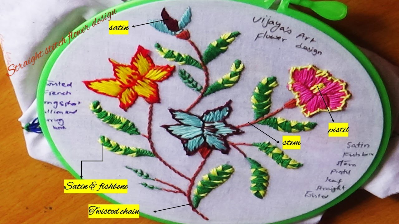 how to make a straight stitch in embroidery