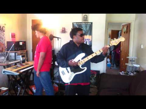 Lils Roberson playing Cameo's Candy on Bass guitar