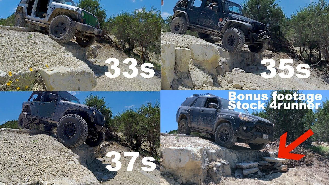2017 Toyota Tacoma Lifted >> 33s vs 35s vs 37s off 3ft drop + Stock 4runner bonus footage - YouTube