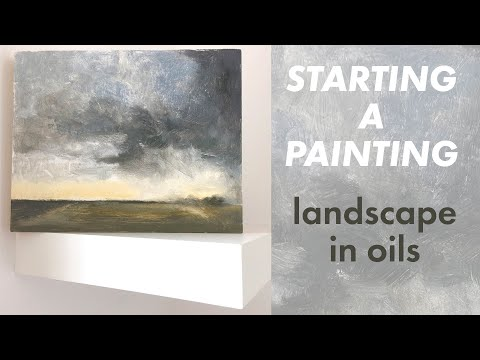 Starting a Landscape with Oils (Water Mixable Oil Painting) speedpaint