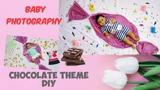 Chocolate Theme Baby Photoshoot DIY || Easy Baby Photoshoot making ideas at home