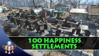 Fallout 4 - How to Get 100 Happiness in a Large Settlement - Benevolent Leader  Trophy