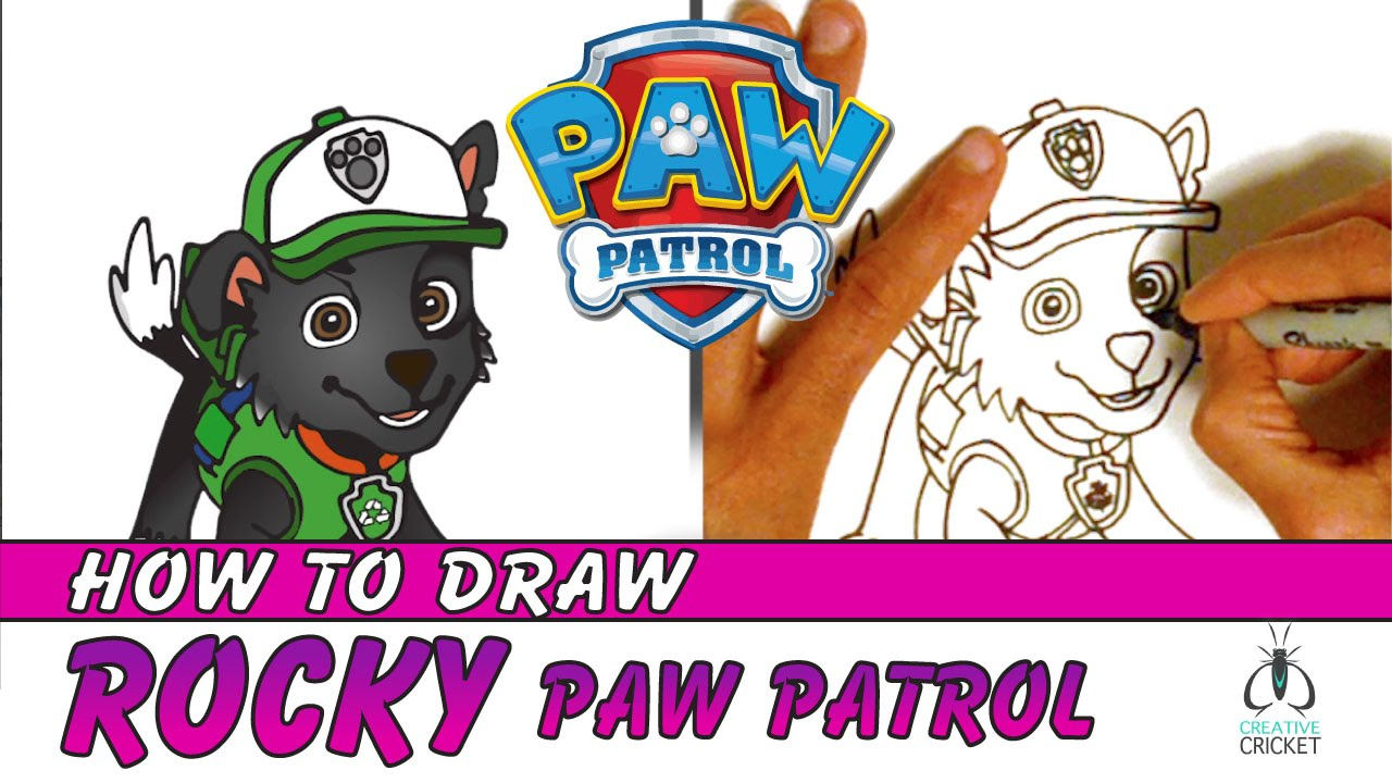 how to draw paw patrol characters step by step rocky and recycling