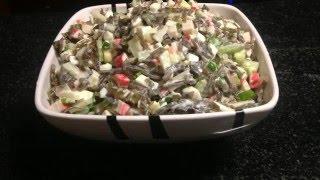 Как правильно чистить стебель сельдерея.Салат с сельдереем и морской капустой
