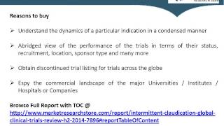 Global Intermittent Claudication Clinical Trials Review, H2, 2014