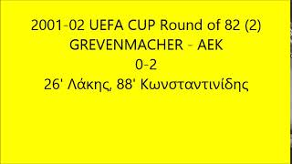 2001-02 UEFA CUP Round of 82 (2) GREVENMACHER-AEK (μόνο σκόρ)