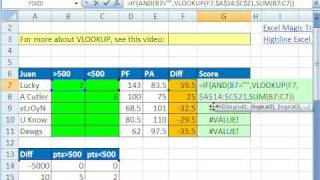 Excel Magic Trick 420: VLOOKUP w SUM function in 3rd argument (Football Betting Table)
