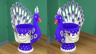 Amazing Peacock Design Showpiece - Woolen Showpiece Making Idea - Woolen Art And Craft Ideas