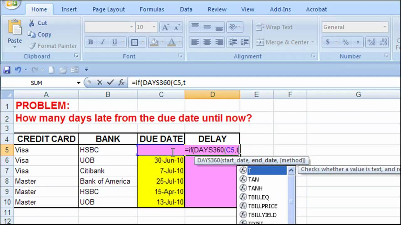 Excel - How many days late from the due date ? - YouTube