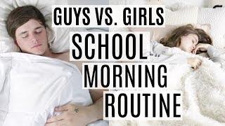 SCHOOL MORNING ROUTINE 2017 | Guys vs. Girls