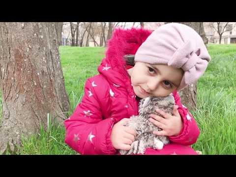 Ася с  плюшевой кисей гуляют в лесу и встретили медведя, собаку и крокодила Asya With A Plush Kitty