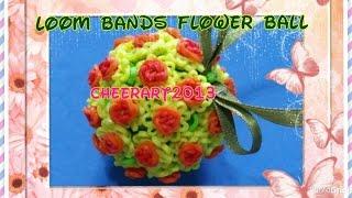 Rainbow loom tutorial : rose/flower ball ornament 彩虹橡筋玫瑰花球掛飾教學