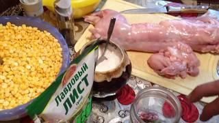 Рецепт приготовления вкуснейшего горохового пюре  с мясом кролика в автоклаве