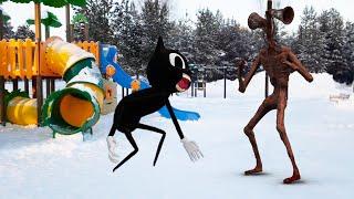Сиреноголовый в реальной жизни против Картун Кэта на детской площадке