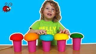Ciupercute din Plastelina cu Surprize   Ne jucam,Modelam si Invatam Culorile   For Kids