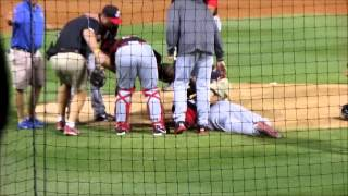 Perez line drive baseball drilling Aroldis Chapman in the head. Original and official video feed.